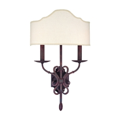 Sconce Wall Light with White Shade in Weathered Iron Finish
