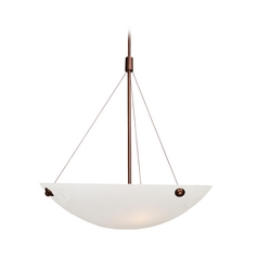 Modern Pendant Light with Alabaster Glass in Bronze Finish