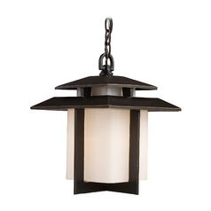 Outdoor Hanging Light with White Glass in Hazlenut Bronze Finish
