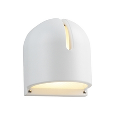 Modern Outdoor Wall Light with White Glass in White Finish