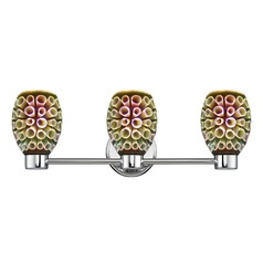 Aon Fuse Chrome Bathroom Light and 3-D Glass with Ring Pattern