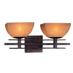 Minka Lighting Iron Oxide Two-Light Bathroom Light with Scavo Glass