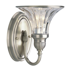Progress Crystal Silver Sconce Wall Light with Clear Glass
