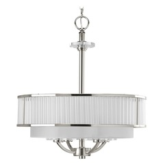 Progress Crystal Drum Polished Nickel Pendant Light with Silver