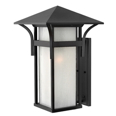 Outdoor Wall Light with White Glass in Satin Black Finish