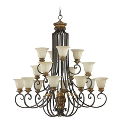 Quorum Lighting Capella Toasted Sienna with Golden Fawn Chandelier