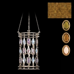Fine Art Lamps Encased Gems Gold Leaf Pendant Light