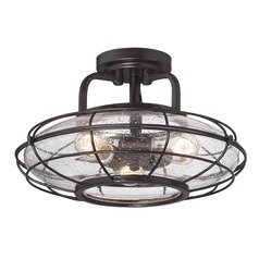 Seeded Glass Semi-Flushmount Light Bronze Savoy House