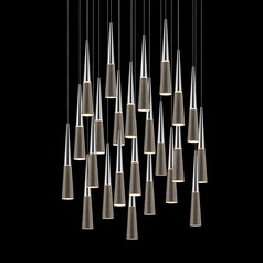 Sonneman Spire Polished Chrome LED Multi-Light Pendant with Conical Shade