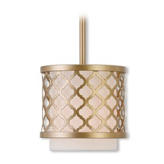 Livex Lighting Arabesque Soft Gold Mini-Pendant Light with Cylindrical Shade