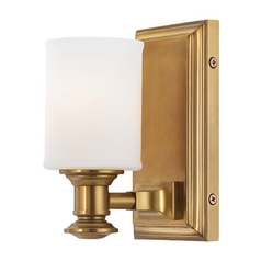 Sconce Wall Light with White Glass in Liberty Gold Finish