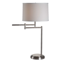 Modern Swing-Arm Lamp with White Shade in Brushed Steel Finish