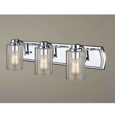 Industrial Seeded Glass Bathroom Light Chrome 3 Lt