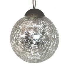 Silver Crackle Ball Tree Ornament - 3-Inches Wide
