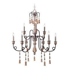Kenroy Home Alexandra Weathered White with Oil Rubbed Bronze Arms Chandelier