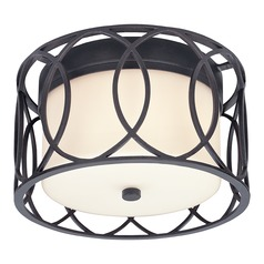 Flushmount Light with White Glass in Deep Bronze Finish