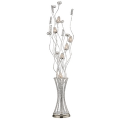 Modern Floor Lamp in Satin Nickel Finish