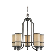 Nautical Chandelier with Beige / Cream Glass in Flemish Bronze Finish