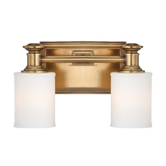 Bathroom Light with White Glass in Liberty Gold Finish