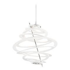 Modern LED Pendant Light with White Glass in Modern White Finish