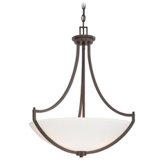 Pendant Light with White Glass in Harvard Court Bronze Finish