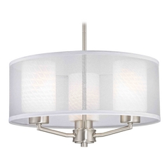 Palatine Fuse Art Glass Satin Nickel Pendant Light with Cylinder Glass
