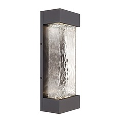 Modern Graphite LED Outdoor Wall Light with Art Glass 3000K 1540LM