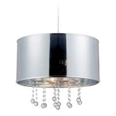 Modern Drum Pendant Light with Silver Shades in Polished Steel Finish