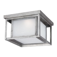Etched Seeded Glass LED Close To Ceiling Light Pewter Sea Gull Lighting
