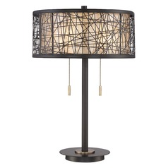 Quoizel Lighting Quoizel Portable Lamp Western Bronze Table Lamp with Drum Shade