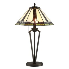 Lite Source Lance Dark Bronze Table Lamp with Hexagon Shade