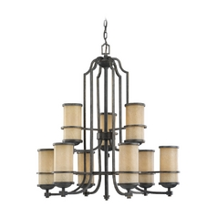 Sea Gull Lighting 2-Tier 9-Light Chandelier in Flemish Bronze