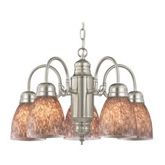 Mini-Chandelier with Brown Art Glass in Satin Nickel Finish