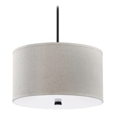 Modern Drum Pendant Light with Beige / Cream Shades in Burnt Sienna Finish