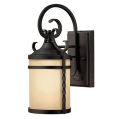 Outdoor Wall Light with Amber Glass in Olde Black Finish