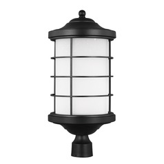 Etched Seeded Glass LED Post Light Black Sea Gull Lighting