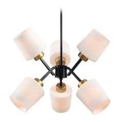 Mid-Century Modern Chandelier Gold and Black Draper by Kenroy Home