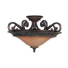 Semi-Flushmount Light with Amber Glass in Oil Rubbed Bronze Finish