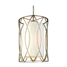 Pendant Light with White Shades in Deep Bronze Finish