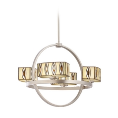 Kichler Chandelier with Tiffany Glass in Brushed Nickel Finish