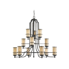 Sea Gull Lighting 3-Tier 12-Light Chandelier in Flemish Bronze
