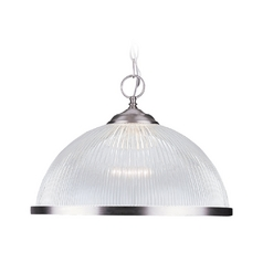 Modern Pendant Light with Clear Acrylic Shade in Brushed Nickel Finish