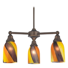 Design Classics Lighting Mini-Chandelier with Art Glass in Neuvelle Bronze Finish 598-220 GL1015D
