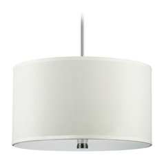 Modern Drum Pendant Light with White Shades in Brushed Nickel Finish