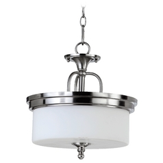 Quorum Lighting Rockwood Satin Nickel Pendant Light with Drum Shade