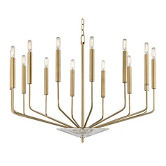 Mid-Century Modern Chandelier Brass Gideon by Hudson Valley Lighting