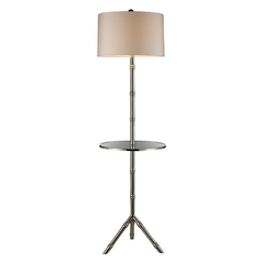 Modern Floor Lamp with White Shade in Silver Plated Finish
