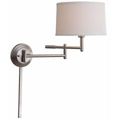 Modern Swing Arm Lamp with White Shade in Brushed Steel Finish