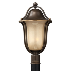 Post Light with Amber Glass in Olde Bronze Finish