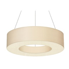 Sonneman Ring Shade Satin White LED Pendant Light with Drum Shade